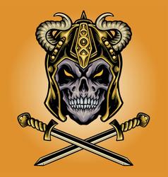 viking skull warrior with sword vector image