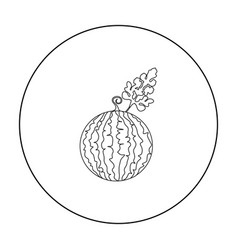 Watermelon icon outline single plant icon from vector