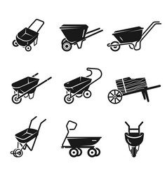 Wheelbarrow icons set simple style vector