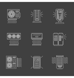 White flat line air purification icons vector image