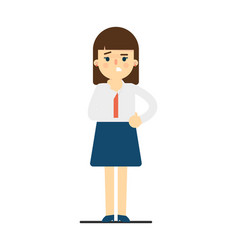 Worried young woman in uniform character vector