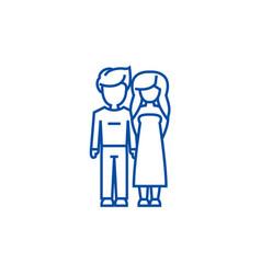 young couple in love line icon concept young vector image
