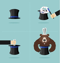 Sequence of a magic trick Instead of rabbit out of vector image vector image
