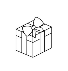 silhouette square gift box with bow wrapping vector image