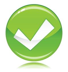 Tick button green vector image