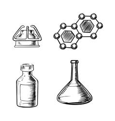 Flask burner bottle and molecule icons sketch vector image