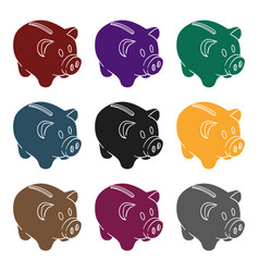 piggy bank icon in black style isolated on white vector image
