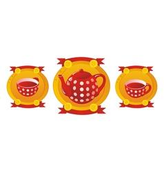 Red tea service vector image vector image