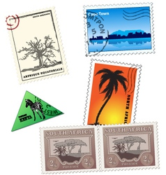 vintage african post stamps vector image vector image