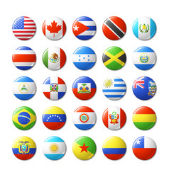 world flags round badges magnets north and south vector image