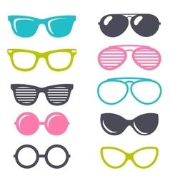colorful cartoon retro sunglasses set vector image vector image