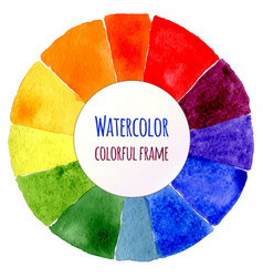 handmade color wheel isolated watercolor spectrum vector image