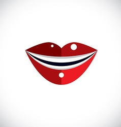 Red human lips parts of woman face graphic vector