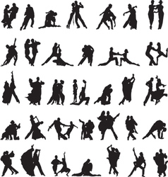 set of silhouettes of couples dancing tango vector image vector image