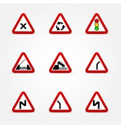 set of traffic signs warnings vector image