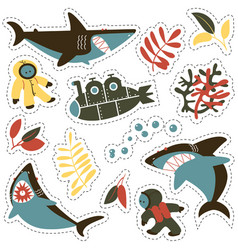sticker set with angry sharks cute divers and vector image vector image