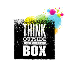 think outside the box artistic grunge motivation vector image