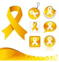 Yellow Awareness Ribbons Kit vector image