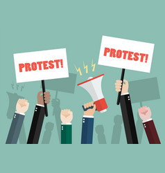 crowd of people protesters vector image vector image