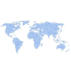 Dotted Blue World Map on White Background vector image