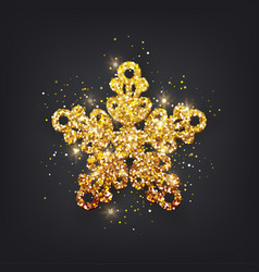 glitter covered gold snowflake with on transparent vector image vector image