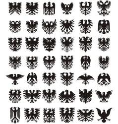 Heraldic eagles silhouettes set vector image