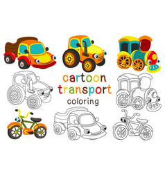 set of isolated cartoon transport with eyes part 2 vector image