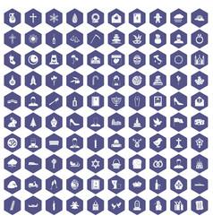 100 church icons hexagon purple vector image