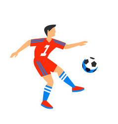 abstract in red football player with ball soccer vector image