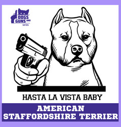 American staffordshire terrier dog with gun vector
