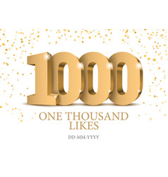 anniversary or event 1000 gold 3d numbers vector image
