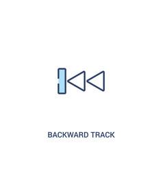 Backward track concept 2 colored icon simple line vector