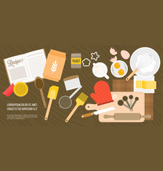 bakery ingredient and utensils in top view vector image