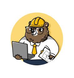 Bear engineer vector