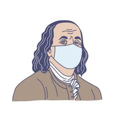 Ben franklin in medical mask hand drawn vector