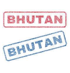 Bhutan textile stamps vector