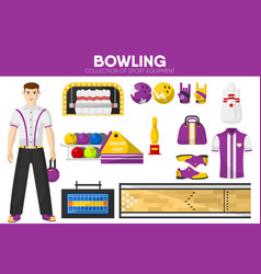 Bowling sport equipment bowler player garment vector
