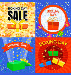 boxing day banner set flat style vector image