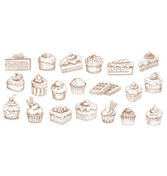 cakes sketch icons pastry desserts bakery sweets vector image