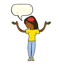 Cartoon intelligent woman with speech bubble vector