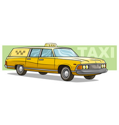cartoon yellow retro long taxi car icon vector image