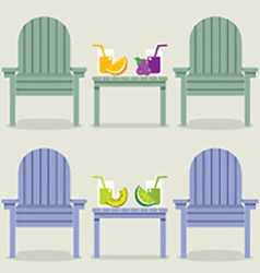 Chairs Set With Fruit Juice Glasses vector image