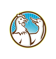 Chicken With Goose Cartoon vector