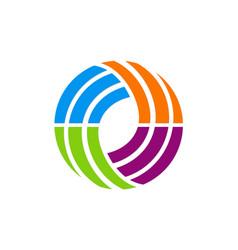 Circle abstract colorful technology logo vector