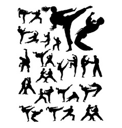 Couple exercising karate detail silhouette vector