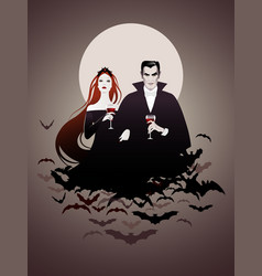 couple vampires on a cloud bats holding red vector image