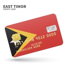 Credit card with East Timor flag background for vector