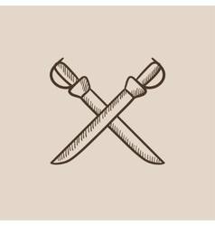 Crossed saber sketch icon vector