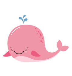 cute amusing pink whale prints image vector image