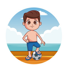 cute kid at beach vector image